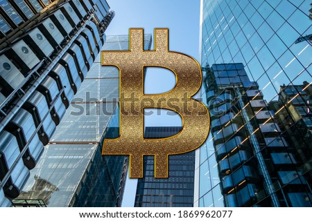 Bitcoin entering mass adoption of hedge funds, family offices, pension funds, VC capital, financial institutions and banks with a backdrop of corporate skyscrapers and office blocks. Royalty-Free Stock Photo #1869962077