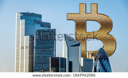 Bitcoin entering mass adoption of hedge funds, family offices, pension funds, VC capital, financial institutions and banks with a backdrop of corporate skyscrapers and office blocks. Royalty-Free Stock Photo #1869962086
