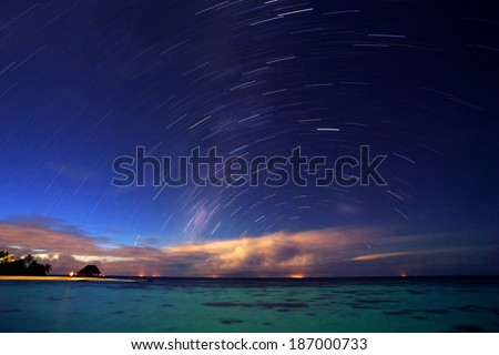 Starry night on tropical resort, beautiful natural background, many little stars in dark blue sky, gorgeous landscape, summertime nature #187000733