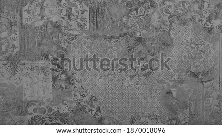 Old gray grey worn grunge vintage shabby patchwork motif tiles stone concrete cement wall wallpaper texture background Royalty-Free Stock Photo #1870018096