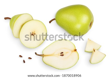 Green pear fruit with half and slices isolated on white background with clipping path. Top view. Flat lay Royalty-Free Stock Photo #1870018906