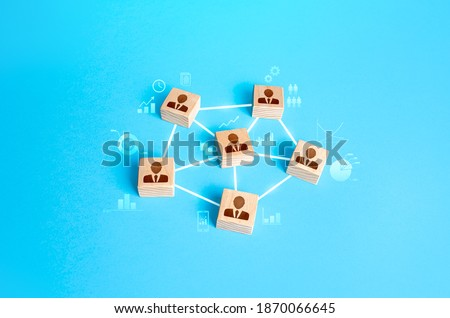 Connected group of people. Work a self-governing team without a leader. Communication and interaction between, exchange of information, skills and mutual assistance. Highly efficient organization. Royalty-Free Stock Photo #1870066645