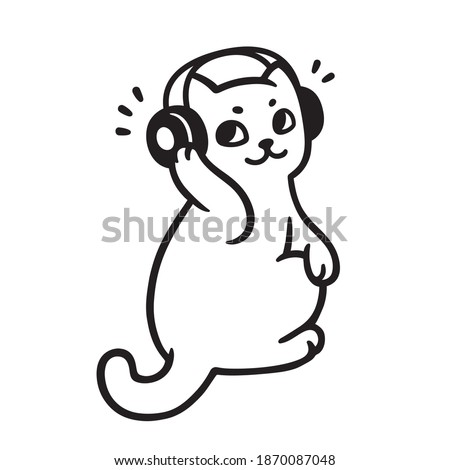 Cartoon cat with headphones listening to music. Cute music fan kitty drawing, black and white illustration.