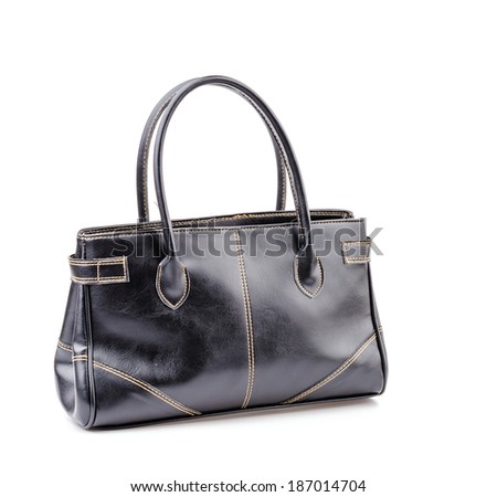 Woman leather bag isolated white background #187014704