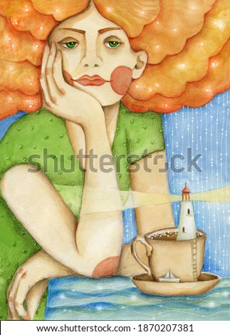 Dreams over evening tea. The girl sits at the table and dreams. There is a lighthouse and a paper boat in the cup of tea