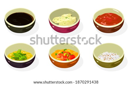Big set of asian sauces, pastes, condiments, seasonings in bowls soy, cheese, honey mustard, spicy kimchi, crushed roasted sesame seeds and peanuts. Korean cuisine. Vector isolated on white. Royalty-Free Stock Photo #1870291438