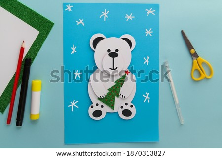 Crafts for children. Winter decoration from paper Polar Bear. Children's art project. DIY concept. Handmade Easy Paper Crafts For Kids