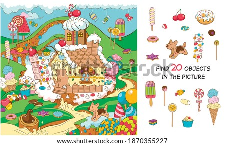 A fabulous country of sweets. Find 20 hidden objects in the picture. Hidden objects puzzle Royalty-Free Stock Photo #1870355227