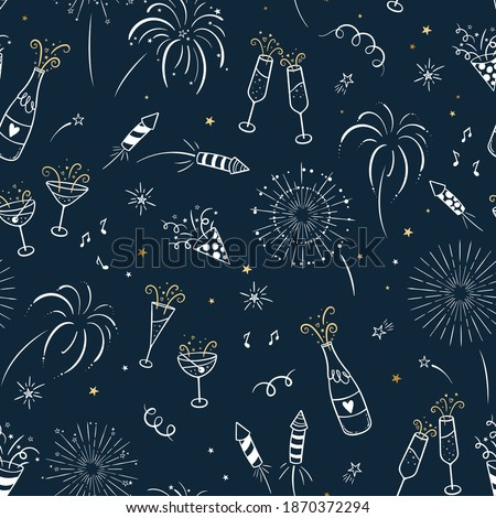 Lovely hand drawn party seamless pattern, great for New Year's Eve, banner, textiles, banner, wallpaper, wrapping - vector design Royalty-Free Stock Photo #1870372294