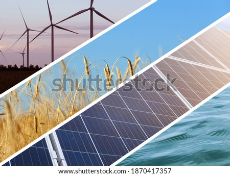 Collage with photos of water, field, solar panels and wind turbines. Alternative energy source