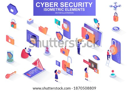 Cyber security bundle of isometric elements. Fingerprint scanner, padlock, password, firewall, data folder, electronic security key isolated icons. Isometric vector illustration with people characters Royalty-Free Stock Photo #1870508809