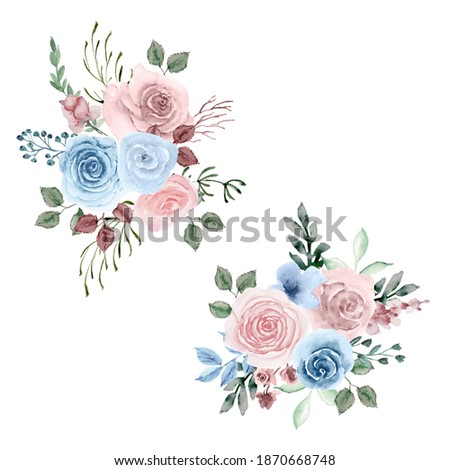 watercolor set of bouquets. Dusty pink, dusty blue pastel floral arrangements. Botanical hand painted compositions. Blue and pink flowers bundle. For decorations, invitations, wedding design, fabric