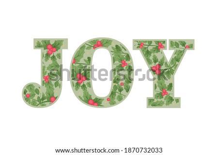 Joy Vector Text, Festive Garland Texture, Christmas Card, Holiday Card, Christmas Background, Vector Illustration Background Royalty-Free Stock Photo #1870732033