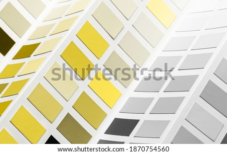 New Pantone 2021 Illuminating and Ultimate gray Color samples palette catalog Royalty-Free Stock Photo #1870754560