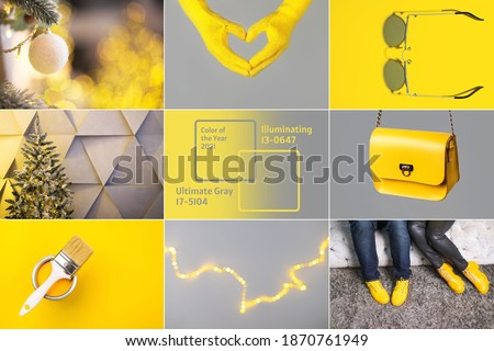 Collage demonstrating trendy colors 2021 - Gray and Yellow. Fashionable leather shoes and bag Royalty-Free Stock Photo #1870761949