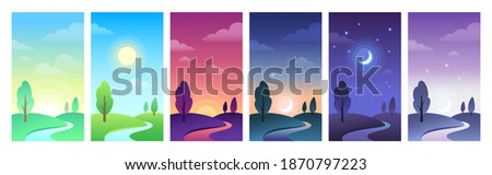 Countryside landscape in different parts of day time. Sky and field daytime circle as sunrise, morning or noon, sunset and night. Hills with tree, moon with stars and sun set vector illustration Royalty-Free Stock Photo #1870797223