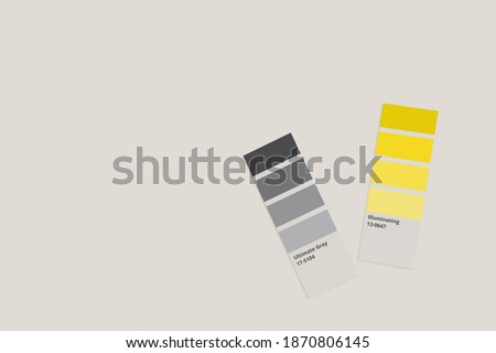 Samples of trending colors  - illuminating yellow and ultimate grey isolated on light gray background. Selection of colors 2021 year  for design of clothes, interiors, websites and publications.