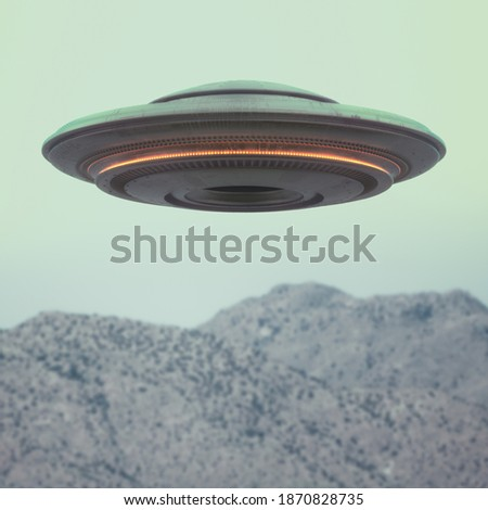 UFO - Unidentified Flying Object. Clipping Path Included. 3D illustration.