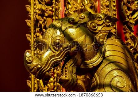 golden dragon in temple, digital photo picture as a background , taken in Patuxai laos, asia , taken in Sisaket temple , luang prabang, laos, asia