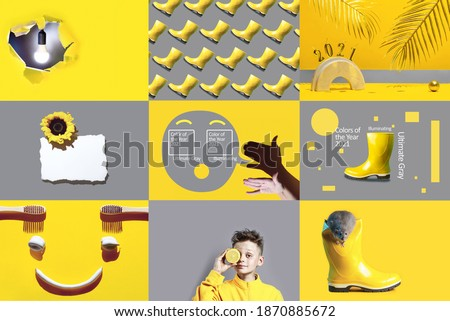 Collage on the theme of color of the year 2021, illiminating and ultimate gray concept