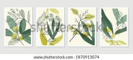 Botanical wall art vector set. Water color boho foliage line art drawing with  abstract shape.  Abstract Plant Art design for print, cover, wallpaper, Minimal and  natural wall art. Royalty-Free Stock Photo #1870913074