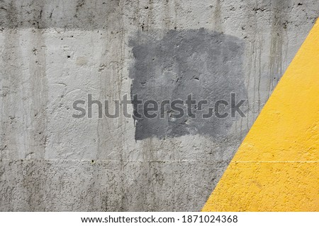 Illuminating Yellow And Ultimate Gray Color Wall Background Material. Urban Concrete Grey Texture Plaster