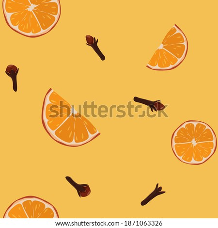 Seamless pattern with orange slices and cloves spice. Ingredients for winter warming drinks - spiced tea, mulled wine. Royalty-Free Stock Photo #1871063326