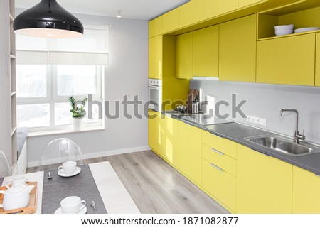 Kitchen interior in light colors. Scandinavian style