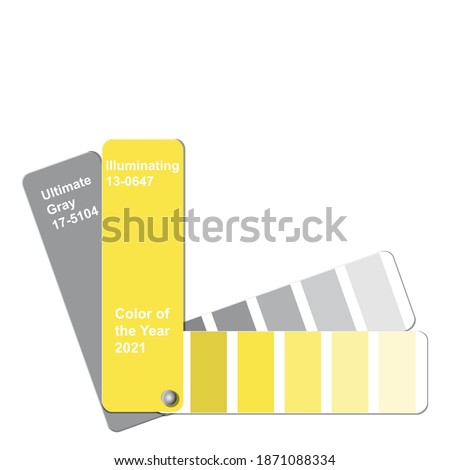 Ultimate Gray and Illuminating, Color of the Year 2021, trend colour palette sample swatch book guide, stock vector illustration clip art template isolated on white background Royalty-Free Stock Photo #1871088334