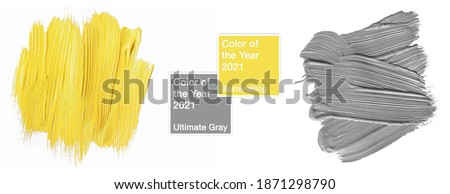 Colors of the year 2021 Illuminating yellow and ultimate gray. Sample of paint smear texture with geometric frame isolated on white background. trendy beauty, fashion, makeup design concept Royalty-Free Stock Photo #1871298790