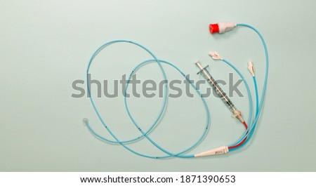 Pulmonary artery catheter used for right heart catheterization procedure  Royalty-Free Stock Photo #1871390653