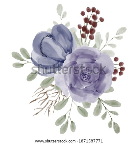 hand painted roses peonies floral bouquet watercolor illustration