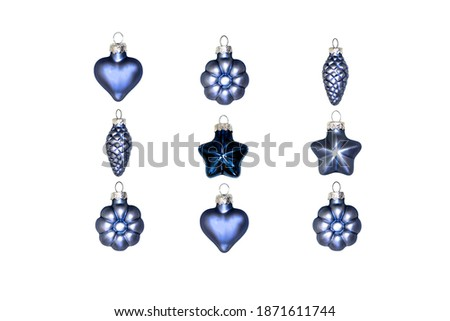 Isolated Christmas tree decorations on white background. Useful blue decorations set for web design on Christmas and New Year holidays. #1871611744