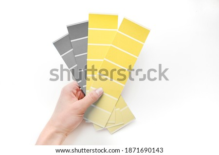 Color Palette Guide at woman hand White Background. flatlay. Color 2021 illuminating and Ultimate Gray.