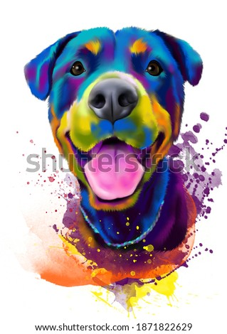 dog, computer illustration of animals, in a watercolor style