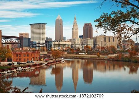 Cleveland, Ohio, USA skyline on the Cuyahoga River in autumn.