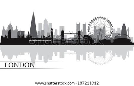 London city skyline silhouette background, vector illustration  Royalty-Free Stock Photo #187211912
