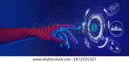 gamification and gaming technology illustration in neon style, hand touching dice icon, horizontal banner