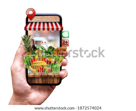 fresh food delivery from mobile phone on isolated background Royalty-Free Stock Photo #1872574024