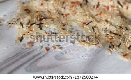 A pile of unboiled fresh rice of various varieties is scattered on the white table. Copy space. #1872600274