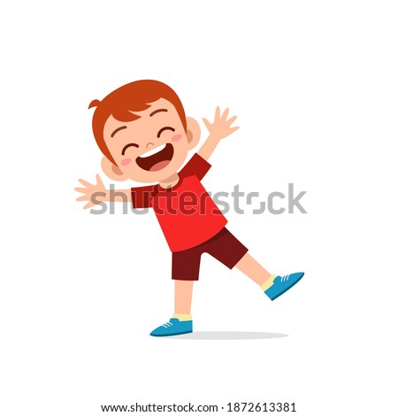 cute little kid boy show happy and celebrate pose expression Royalty-Free Stock Photo #1872613381