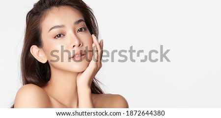 Beautiful young asian woman with clean fresh skin on white background, Face care, Facial treatment, Cosmetology, beauty and spa, Asian women portrait Royalty-Free Stock Photo #1872644380
