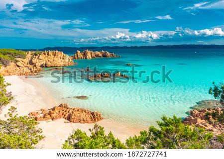 Amazing pink sand beach in Budelli Island, Maddalena Archipelago, Sardinia, Italy Royalty-Free Stock Photo #1872727741