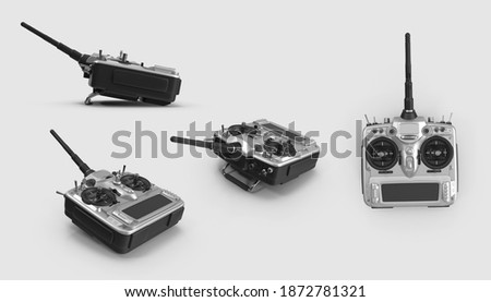set of plastic Remote control RC toys Transmitter collection drone helicopters airplanes car device concept, 3d illustration. different angles top side perspective view. clipping mask