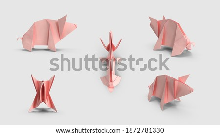 set of pink paper origami pig figure polygonal Chinese culture zodiac collection. isolated on white background. 3d illustration. different angles side perspective view. clipping mask