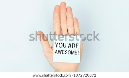 You Are Awesome. Motivational inspirational quotes words. Wooden background Royalty-Free Stock Photo #1872920872