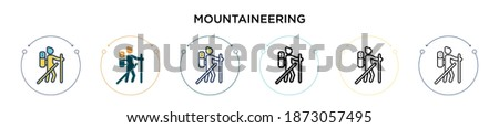 Mountaineering icon in filled, thin line, outline and stroke style. Vector illustration of two colored and black mountaineering vector icons designs can be used for mobile, ui, web