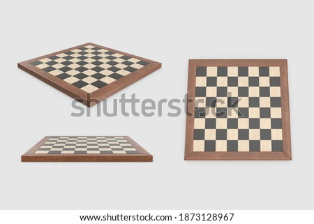 set Empty wooden chessboard collection without figures pieces leisure activity concept isolated white background 3d illustration different angles side perspective top back view clipping mask