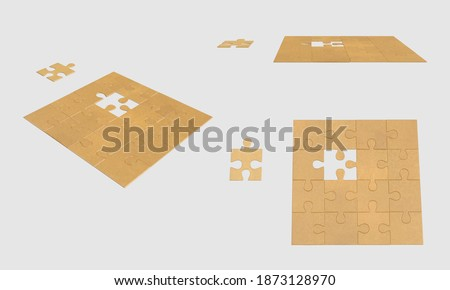 set Unfinished paper color Puzzle Fill missing parts fragment Jigsaw concept Puzzle pieces grid isolated white background 3d illustration different angles side perspective top view clipping mask