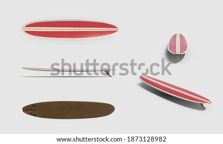 set of red vintage wooden 60's retro style longboard Surfboard extreme sports equipment collection isolated white background 3d illustration different angles side top perspective view clipping mask